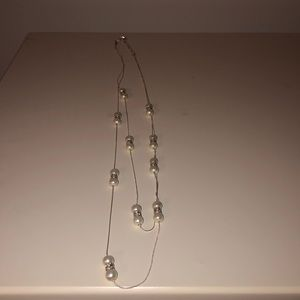 Long silver and pearl necklace